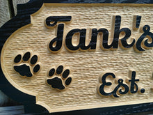 Load image into Gallery viewer, Custom Solid Wood Dog House Name sign