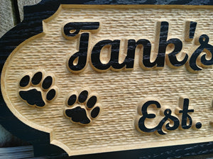 Custom Solid Wood Dog House Name sign