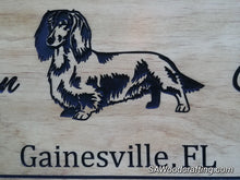 Load image into Gallery viewer, Custom Wood engraved Pet Owner Name sign with Dachshund