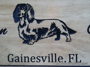 Custom made Pet Owner Name sign with Dachshund Dog
