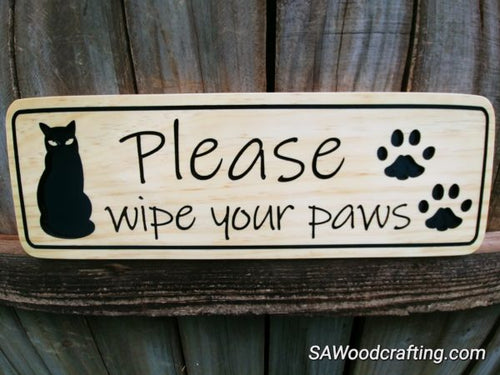 Custom Wood Pet Sign with Cats, Cat Lovers gift sign