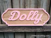 Load image into Gallery viewer, Personalized Custom Barn color Painted Solid Oak Horse Stall Sign