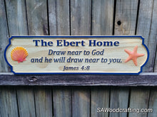 Load image into Gallery viewer, Custom Christian Family Name sign with Bible verse