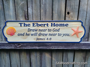 Custom Christian Family Name sign with Bible verse