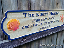 Load image into Gallery viewer, Personalized wood carved Christian Family Name sign with Bible verse