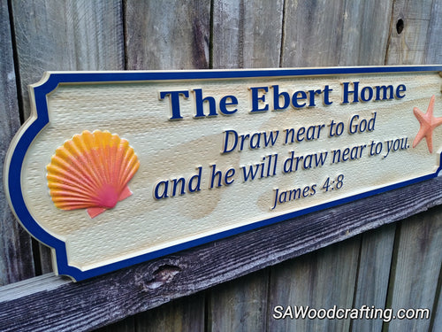 Personalized wood carved Christian Family Name sign with Bible verse