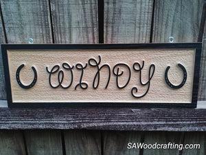 Personalized solid Red Oak carved Horse name sign