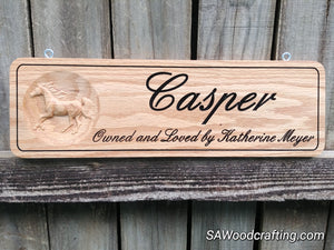 Custom Oak Horse Name Plate