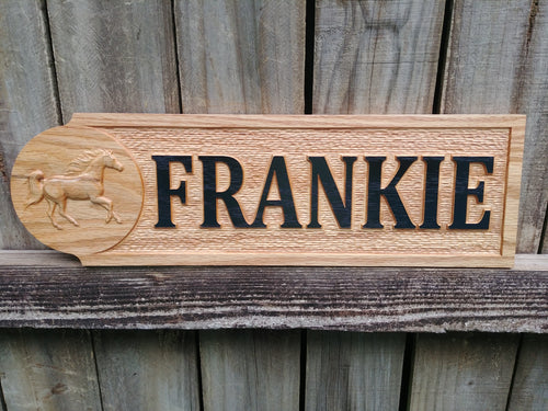 Custom Made Solid Oak wooden Stall sign with 3D carving, Oak Hoarse Stall sign