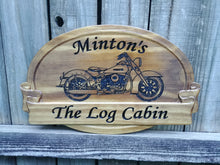 Load image into Gallery viewer, This is a beautiful solid Pine Family Name sign featuring v-carved Harley motorcycle graphic and personalized text, finished in Early American stain. Rustic heirloom.