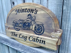 Personalized Rustic Family Last Name Sign with Motorcycles