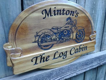 Load image into Gallery viewer, Personalized Rustic Family Last Name Sign with Motorcycles