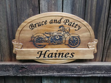 Load image into Gallery viewer, Custom personalized Harley Davidson motorcycle sign for the biker couple
