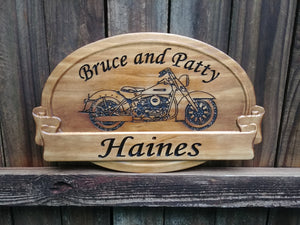 Custom personalized Harley Davidson motorcycle sign for the biker couple