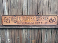 Load image into Gallery viewer, Horse tack farm and ranch all weather outdoor wood business name sign