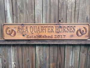 Horse tack farm and ranch all weather outdoor wood business name sign