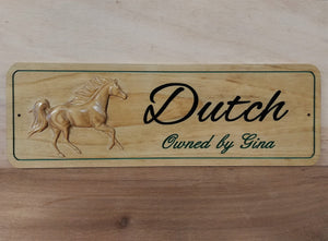 3D Carved Wood Horse Barn Stable Stall Sign Personalized Name plate