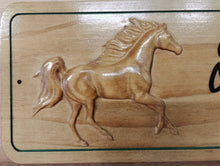 Load image into Gallery viewer, 3D Carved Wood Horse Barn Stable Stall Sign Personalized Name plate