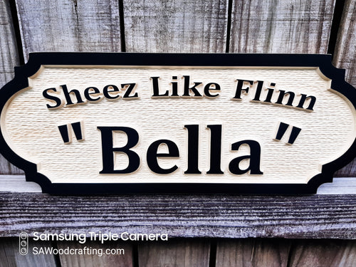 This hardwood Horse stall name plate is personalized with your Horse's registered name and their Barn name. 3D wood carved name sign with raised letters and border frame, painted black and finished with marine grade spar urethane.