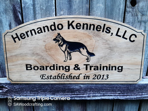 Custom wood Dog Kennel Business sign, German Sheppard Trainer Name plaque