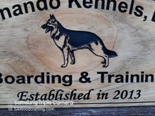 Load image into Gallery viewer, Custom wood Dog Kennel Business sign, German Sheppard Trainer Name plaque
