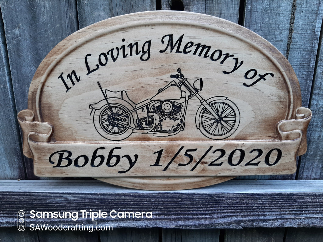 Wood Memorial Plaque with Harley Motorcycles