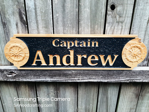 Boat Captain wood Quarter Board Name plaque, Nautical Quarterboard Captain's Name sign