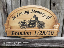 Load image into Gallery viewer, Wood Memorial Plaque with Harley Motorcycles
