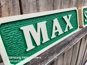 Custom 3D Wood Carved Horse Stable Name Plate with painted Barn Colors