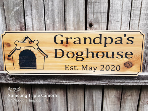 Custom made wooden dog house name sign