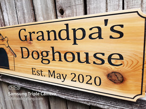 Custom Cedar All Weather Personalized Name plaque, Dog House Name sign