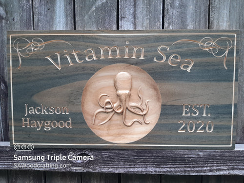Custom 3D Wooden Wall Art, Family Established Name sign with Octopus