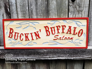 Western style wooden Saloon business name sign