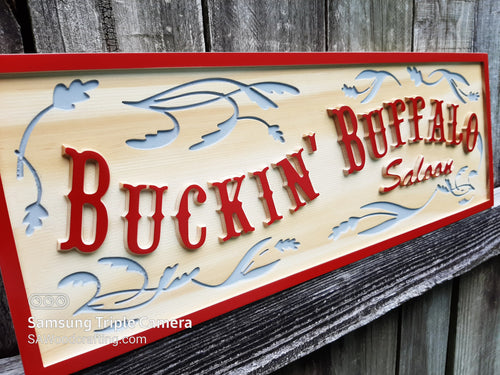 Custom made 3D wood carved Bar Saloon  business sign