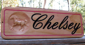 Unique Personalized Wood Horse Stall sign Barn Colors Name Plaque