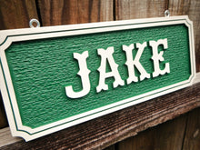 Load image into Gallery viewer, Custom Wood Hand Painted Horse stall sign Barn Stable color name plate