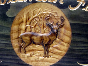 Hunting Family Name Sign with Whitetail Deer