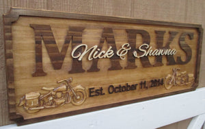Custom Wedding gift with 3D Harley Davidson motorcycles