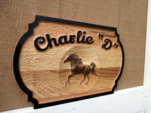 Load image into Gallery viewer, 3D Carved Horse Barn Door Name Plate