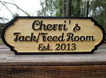 Load image into Gallery viewer, Personalized Horse Tack room Feed room Wood Barn sign