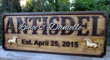 Load image into Gallery viewer, 3D Wood carved Horse Personalized Farm Family Wedding Last Name plaque