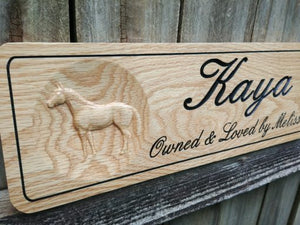 Custom Oak Horse Name Plate, Solid Wood Stable Name Plaque