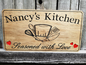 Custom made wooden signs for the Chef's kitchen