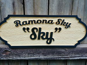 Custom Horse stall name plate with raised letters. This sign features the Horse registered name and Barn name. Personalized wood horse name plaque.