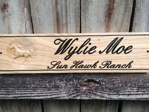 Personalized Oak Horse Name Stall Plaque
