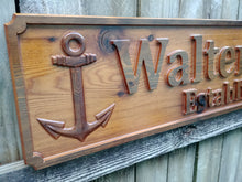 Load image into Gallery viewer, red cedar outdoor name sign custom nautical wood sign personalized nautical signs