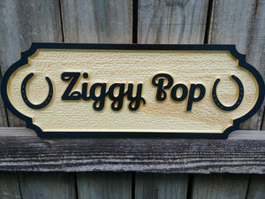 Personalized 3D carved Solid Pine Wood Horse Stall Sign with Horseshoes