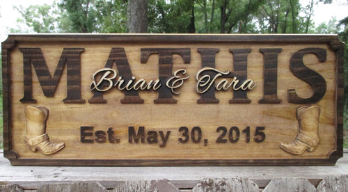 Rustic Personalized wood Western Last Name plaque with Cowboy Boots