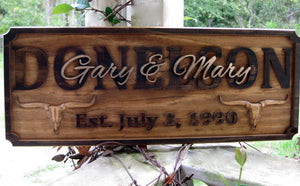Wood carved Longhorn Ranch Family Last Name sign, Ranch Family Wedding gift