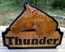 Load image into Gallery viewer, This is a beautiful 3D horse head stall sign. very unique with a textured background with the horse's name in raised 3D letters. This beautiful wood carving is hand painted and personalized.